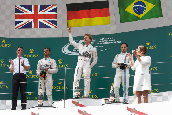 Red Bull Ring, Spielberg, Austria. Sunday 21 June 2015. Nico Rosberg, Mercedes AMG, 1st Position, Lewis Hamilton, Mercedes AMG, 2nd Position, and Felipe Massa, Williams F1, 3rd Position. World Copyright: Steve Etherington/LAT Photographic. ref: Digital Image SNE24742