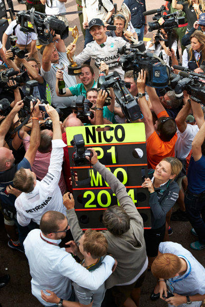 Monte Carlo, Monaco. Sunday 25 May 2014. Nico Rosberg, Mercedes AMG, 1st Position, celebrates victory. World Copyright: Steve Etherington/LAT Photographic. ref: Digital Image SNE12342 copy