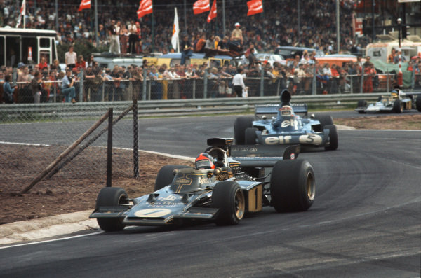 1973 Belgian Grand Prix.  Zolder, Belgium. 18-20th May 1973.  Emerson Fittipaldi, Lotus 72E Ford, 3rd position, leads Jackie Stewart, Tyrrell 006 Ford, 1st position, at the Kleine Chicane.  Ref: 73BEL38. World Copyright: LAT Photographic