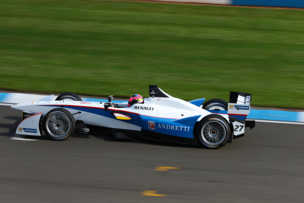 FIA Formula E Test Day, Donington Park, UK.  19th August 2014. Franck Montagny, Andretti Autosport. Photo: Malcolm Griffiths/FIA Formula E ref: Digital Image F80P8842