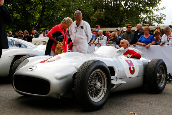 2014 Goodwood Festival of Speed  Goodwood Estate, West Sussex, England. 26th - 29th June 2014.   Saturday 28 June 2014. Sir Stirling Moss. World Copyright: Adam Warner/LAT Photographic. ref: Digital Image _L5R6848