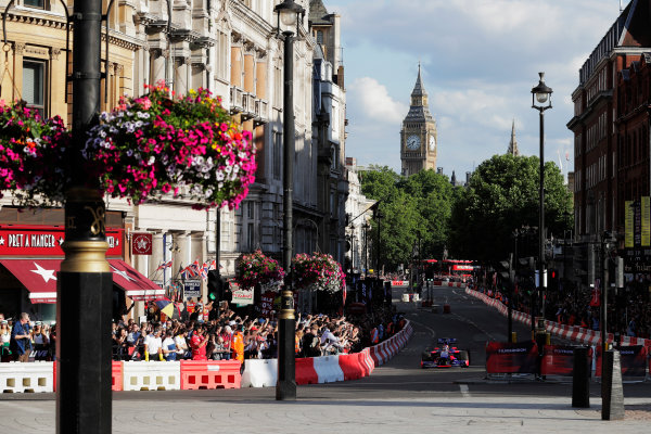 London, United Kingdom.  Wednesday 12 July 2017. Carlos Sainz Jr, Toro Rosso STR12 Renault.  World Copyright: Zak Mauger/LAT Images  ref: Digital Image _54I2311