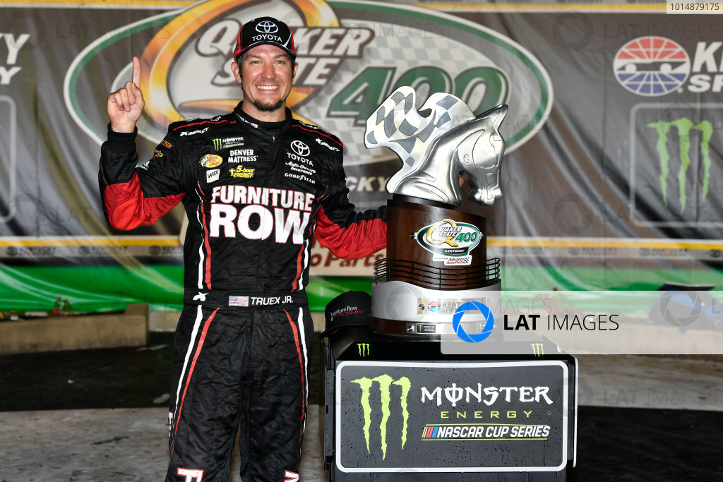 Monster Energy NASCAR Cup Series Quaker State 400 Kentucky Speedway, Sparta, KY USA Sunday 9 July 2017 Martin Truex Jr, Furniture Row Racing, Furniture Row/Denver Mattress Toyota Camry in victory lane World Copyright: Logan Whitton LAT Images