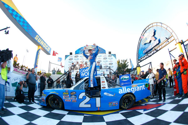 NASCAR Camping World Truck Series Bar Harbor 200 Dover International Speedway, Dover, DE USA Friday 2 June 2017 Johnny Sauter, Allegiant Airlines Chevrolet Silverado celebrates in victory lane  World Copyright: Russell LaBounty LAT Images ref: Digital Image 17DOV1rl_00580