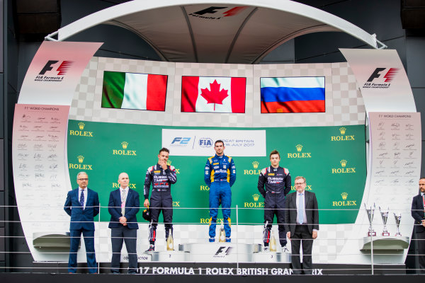2017 FIA Formula 2 Round 6. Silverstone, Northamptonshire, UK. Sunday 16 July 2017. Luca Ghiotto (ITA, RUSSIAN TIME), Nicholas Latifi (CAN, DAMS) and Artem Markelov (RUS, RUSSIAN TIME).  Photo: Zak Mauger/FIA Formula 2. ref: Digital Image _56I0739