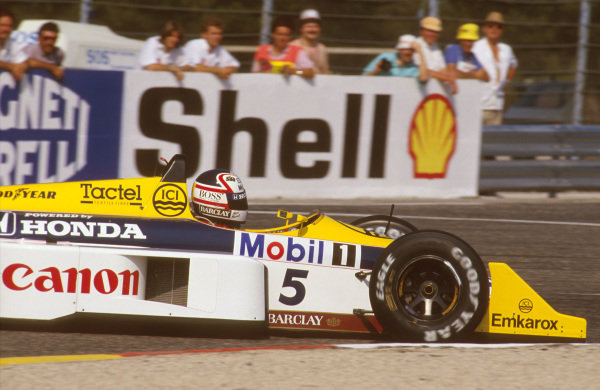 Paul Ricard, Le Castellet, France.3-5 July 1987.Nigel Mansell (Williams FW11B Honda) 1st position.Ref-87 FRA 15.World Copyright - LAT Photographic