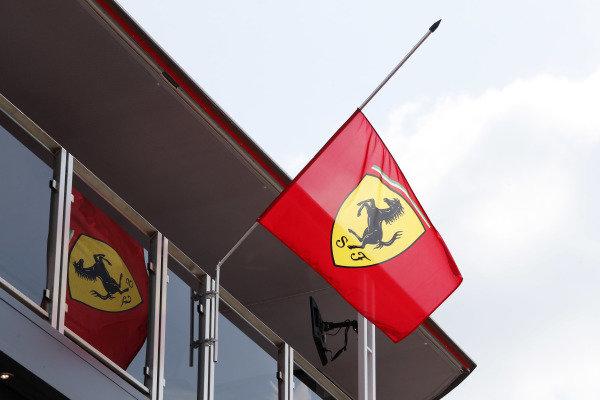 Ferrari flags at half mast in honour of Sergio Marchionne.