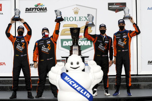 #74 Riley Motorsports Ligier JS P320, LMP3: Oliver Askew, Spencer Pigot, Scott Andrews, Gar Robinson winner, victory lane