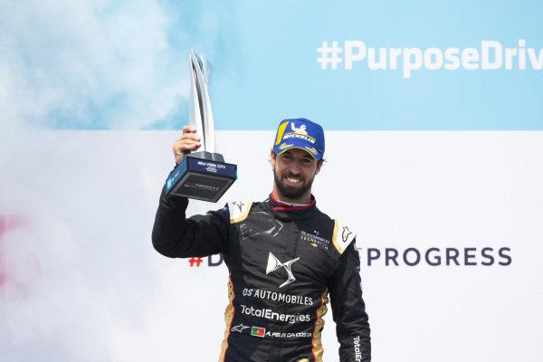 Antonio Felix da Costa (PRT), DS Techeetah, 3rd position, with his trophy on the podium