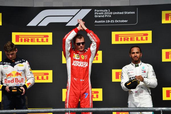 (L to R): Max Verstappen, Red Bull Racing, Kimi Raikkonen, Ferrari and Lewis Hamilton, Mercedes AMG F1 celebrate on the podium