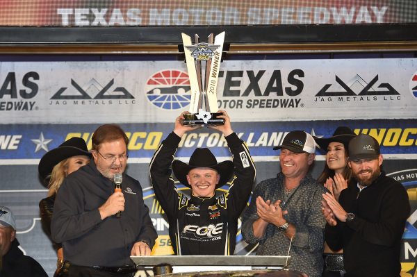 #24: Justin Haley, GMS Racing, Chevrolet Silverado Fraternal Order Of Eagles, celebrates in Victory Lane.