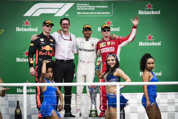 Max Verstappen, Red Bull Racing, 2nd position, Andrew Shovlin, Chief Race Engineer, Mercedes AMG, Lewis Hamilton, Mercedes AMG F1, 1st position, and Kimi Raikkonen, Ferrari, 3rd position, on the podium
