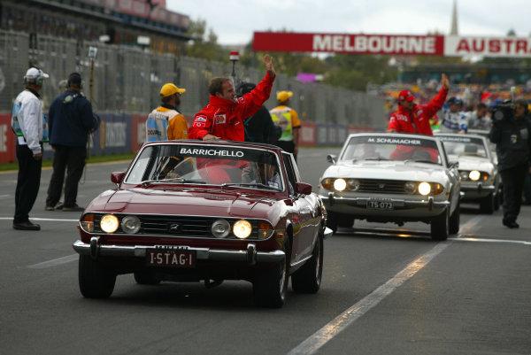 2002 Qantas Australian Grand Prix - RaceAlbert Park, Melbourne, Australia. 3rd March 2002.Rubens Barrichello leads Michael Schumacher . . in the drivers' parade.World Copyright - Steve Etherington/LAT PhotographicRef: 12 5MB Digital Image Only