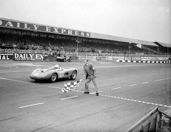 Sports Car race. Silverstone, England. 14 July 1956.Stirling Moss (Maserati 300S). Ref-Motor 769/19.World Copyright - LAT Photographic
