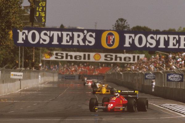 Adelaide, Australia.13-15 November 1987.Gerhard Berger (Ferrari F187) 1st position.Ref-87 AUS 17.World Copyright - LAT Photographic