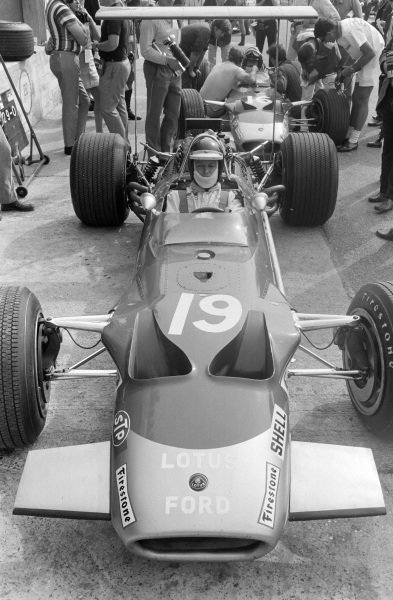 Jackie Oliver, Lotus 49B Ford, with team mate Graham Hill behind.
