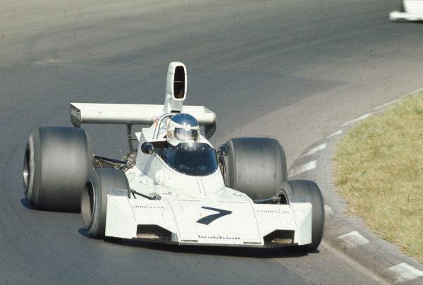 1974 United States Grand Prix.Watkins Glen, New York, USA.4-6 October 1974.Carlos Reutemann (Brabham BT44 Ford) 1st position.Ref-74 USA 11.World Copyright - LAT Photographic