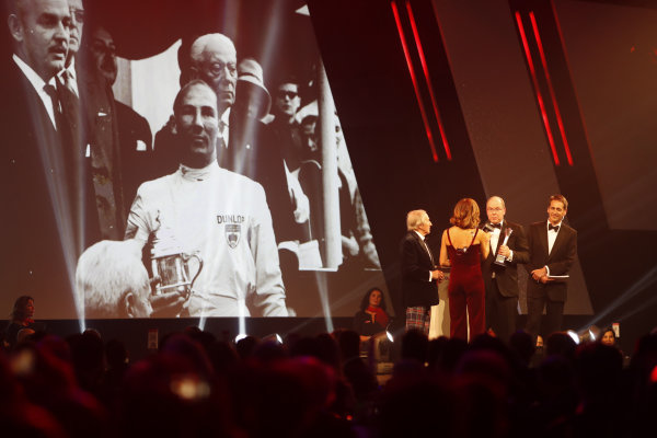 Sir Jackie Stewart, presents the Gregor Grant award for the Monaco Grand Prix to HSH Prince Albert II of Monaco