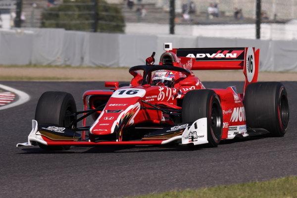 Winner Tomoki Nojiri, Team Mugen, Dallara SF19 Honda, celebrates by raising his arm and pointing