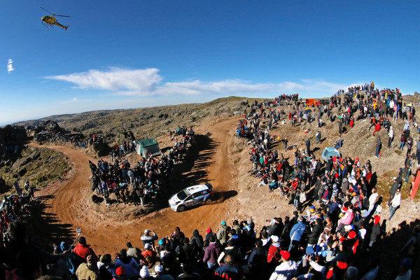 Ott Tanak (EST) / Raigo Molder (EST) Ford Fiesta RS WRC and helicopter at World Rally Championship, Rd4, Rally Argentina, Day Three, Carlos Paz, Argentina, 26 April 2015.