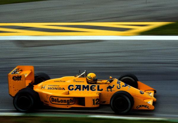 1987 Austrian Grand Prix.Osterreichring, Zeltweg, Austria.14-16 August 1987.Ayrton Senna (Lotus 99T Honda) 5th position.World Copyright - LAT Photographic