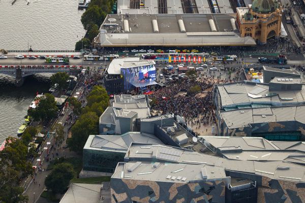 Aerial view of the Federation Square event in downtown Melbourne