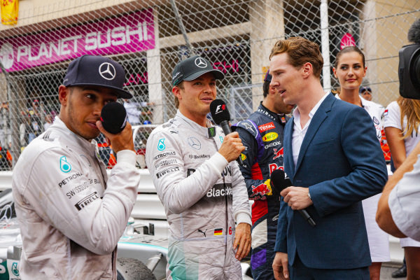 Nico Rosberg and Lewis Hamilton are interviewed by Benedict Cumberbatch.