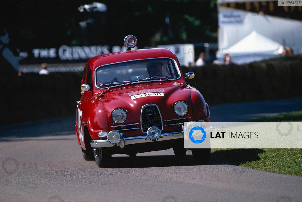 2002 Goodwood Festival of SpeedGoodwood, England. 12th - 14th July 2002.Erik Carlsson - Saab 96 '1963 Rallye Monte Carlo' winner.World Copyright: Jeff Bloxham/LAT Photographicref: 35mm Image A14
