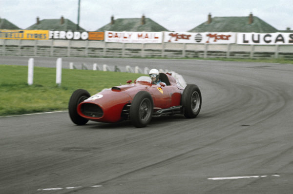 Aintree, England. 18-20 July 1957. Maurice Trintignant (Lancia-Ferrari D50 801) 4th position, shared with Peter Collins. Ref-57 GB 07. World Copyright - LAT Photographic