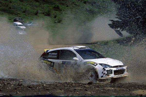 2003 World Rally Championship.Acropolis Rally, Greece. 4-8 June 2003.Mikko Hirvonen/Jarmo Lehtinen (Ford Focus RS WRC02), retired.World Copyright: LAT PhotographicRef: 35mm transparency 03RALLY15