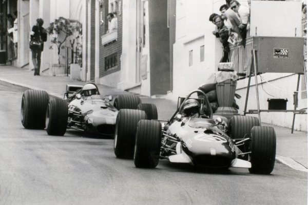1969 Monaco Grand Prix Monte Carlo, Monaco. 18 May 1969 Piers Courage, Brabham BT26-Ford, 2nd position, leads Jacky Ickx, Brabham BT26-Ford, retired, action World Copyright: LAT PhotographicRef: b&w print