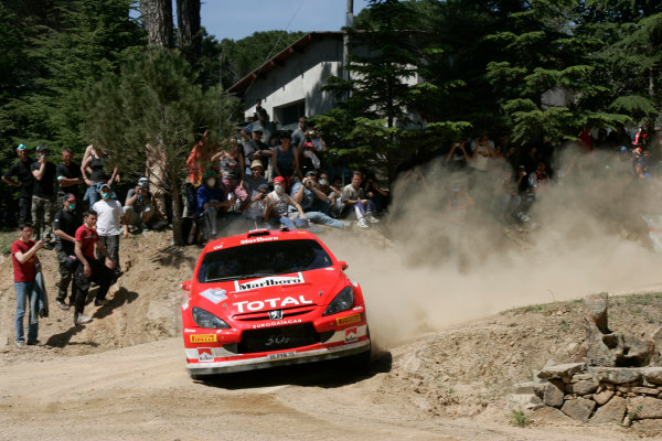 2005 World Rally Championship Rallye d'Italia, Sardinia, Italy. 29th April - 1st May 2005Marco Martin (Peugeot 307 WRC), action.World Copyright: McKlein/LAT Photographic ref: Digital Image Only