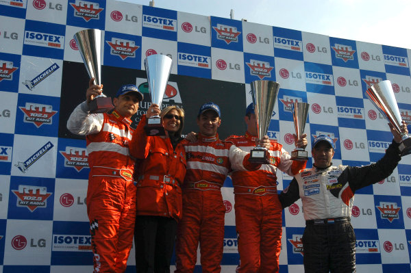 2004 European Touring Car ChampionshipMonza, Italy. 27th - 28th March 2004.Race 1 podium - Augusto Farfus, 1st, Gabriele Tarquini, 2nd and Fabrizio Giovanardi, 3rd, complete a clean sweep for AutoDelta's Alfa Romeo 156 S2000's).World Copyright: Photo4/LAT Photographiref: Digital Image Only