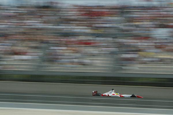 2003 Spanish Grand Prix - Sunday Race,Barcelona, Spain.4th May 2003.Cristiano da Matta, Toyota TF103, action.World Copyright LAT Photographic.ref: Digital Image Only.