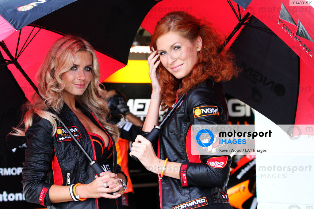 British Grand Prix.  Silverstone, England. 30th August - 1st September 2013.  Forward Racing grid girls.  Ref: IMG_0442a. World copyright: Kevin Wood/LAT Photographic