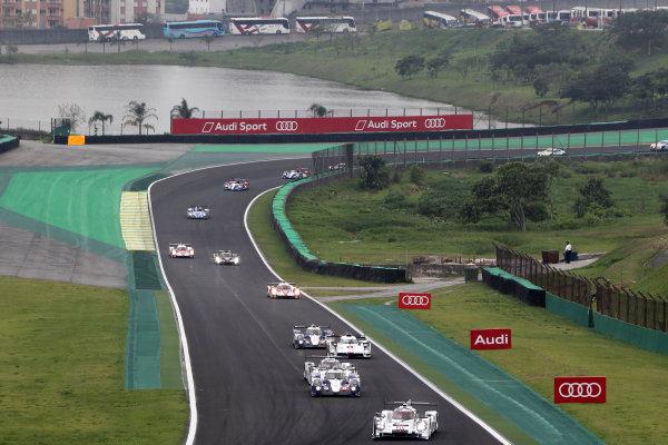 2014 World Endurance Championship, Interlagos, Brazil. 28th - 30th November 2014. Race start - Timo Bernhard / Mark Webber / Brendon Hartley Porsche AG Porsche 919 Hybrid leads. World Copyright: Ebrey / LAT Photographic.