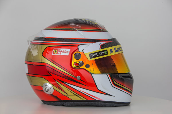 Sauber C34 Reveal. Hinwil, Switzerland. Thursday 29 January 2015. Helmet of Raffaele Marciello. Photo: Sauber F1 Team (Copyright Free FOR EDITORIAL USE ONLY) ref: Digital Image Sauber_2015_Helmet_34