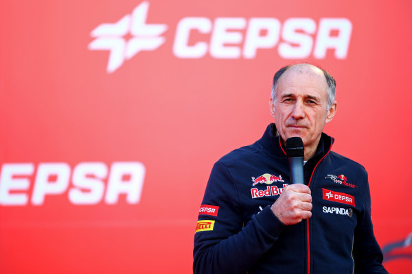 Circuito de Jerez, Jerez, Spain. Saturday 31 January 2015. Scuderia Toro Rosso Team Principal Franz Tost speaks to the media at the unveiling of the new STR10 outside the team garage. Photo: Scuderia Toro Rosso (Copyright Free FOR EDITORIAL USE ONLY) ref: Digital Image Toro_Rosso_STR10_2015_01