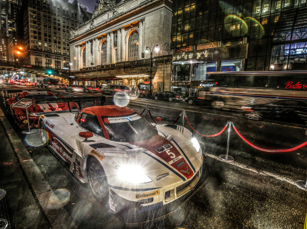 13 October, 2014, New York, New York USA  5, Chevrolet, Corvette DP, P, Joao Barbosa, Christian Fittipaldi, Sebastien Bourdais on 42nd street ©2014, Michael L. Levitt LAT Photo USA