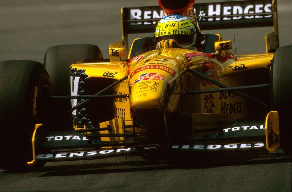 Spa-Francorchamps, Belgium.22-24 August 1997.Giancarlo Fisichella (Jordan 197 Peugeot) 2nd position.Ref-97 BEL 05.World Copyright - LAT Photographic