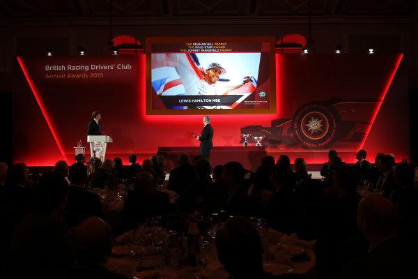 2015 British Racing Drivers Club Awards Grand Connaught Rooms, London Monday 7th December 2015 Lewis Hamilton on screen. World Copyright: Jakob Ebrey/LAT Photographic ref: Digital Image Hamilton-03