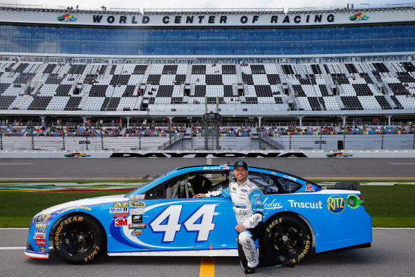 13-21 February, 2016, Daytona Beach, Florida USA   Brian Scott, driver of the #44 Albertsons Co./Shore Lodge Ford, poses with his car after qualifying for the NASCAR Sprint Cup Series Daytona 500 at Daytona International Speedway on February 14, 2016 in Daytona Beach, Florida.   LAT Photo USA via NASCAR via Getty Images