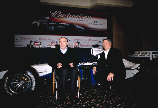 2003 BMW WilliamsF1 Budweiser Sponsorship AnnouncementFour Seasons Hotel, London, England. 16th July 2003Frank Williams reveals the new partnership with Budweiser Beer.World Copyright - Attley/LAT Photographic