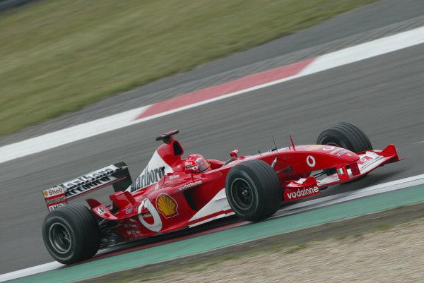 2003 European Grand Prix - Saturday Final Qualifying, Nurburgring, Germany. 28th June 2003 Michael Schumacher, Ferrari F2003 GA, action.World Copyright: Steve Etherington/LAT Photographic ref: Digital Image Only
