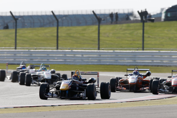 FIA F3 European Championship - Round 1, Race 3. Silverstone, Northamptonshire, UK 10th - 12th April 2015 30 Callum Ilott (GBR, Carlin, Dallara F312 – Volkswagen), 5 Santino Ferrucci (USA, kfzteile24 Mücke Motorsport, Dallara F312 – Mercedes-Benz), 1 Felix Rosenqvist (SWE, Prema Powerteam, Dallara F312 – Mercedes-Benz). Copyright Free FOR EDITORIAL USE ONLY. Mandatory Credit: FIA F3. ref: Digital Image FIAF3-1428842383