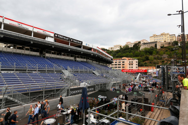Monte Carlo, Monaco. Sunday 24 May 2015. Empty grandstand after the race. World Copyright: Sam Bloxham/LAT Photographic. ref: Digital Image _SBL2814