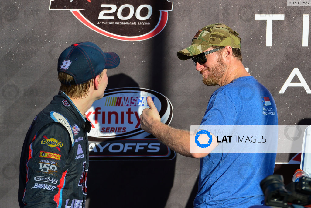 NASCAR XFINITY Series Ticket Galaxy 200 Phoenix Raceway, Avondale, AZ USA Saturday 11 November 2017 William Byron, Liberty University Chevrolet Camaro and team owner Dale Earnhardt Jr celebrate in victory lane World Copyright: Logan Whitton LAT Images