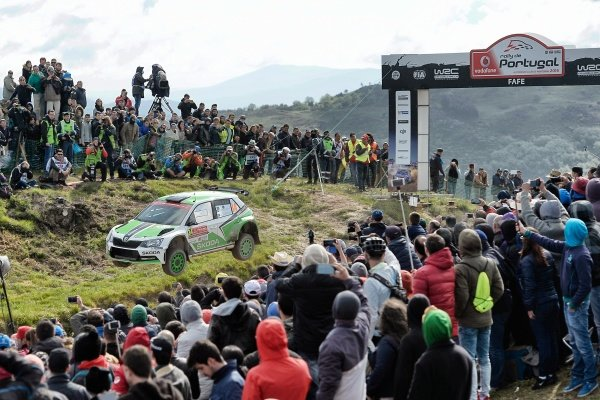 Pontus Tidemand (SWE) / Jonas Andersson (SWE), Skoda Motorsport Fabia R5 WRC2 at World Rally Championship, Rd5, Rally Portugal, Day Three, Matosinhos, Portugal, 22 May 2016.