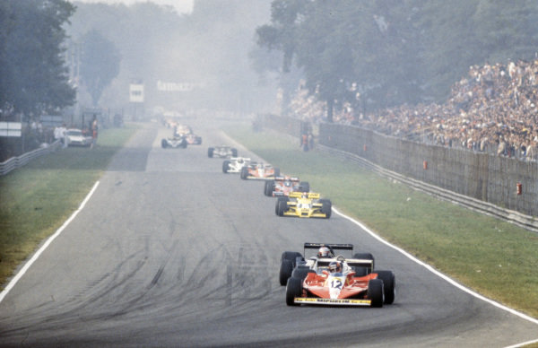 Gilles Villeneuve, Ferrari 312T3 leads Mario Andretti, Lotus 79 Ford and Jean-Pierre Jabouille, Renault RS01.