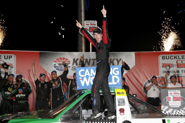#41: Ben Rhodes, ThorSport Racing, Ford F-150 Alpha Energy Solutions in victory lane